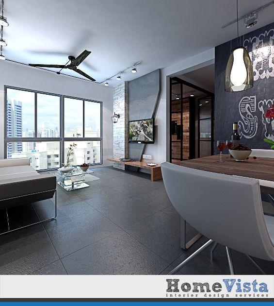 Fashion Design Interior Design Singapore: HDB 4-Room Industrial Contemporary Design @ Blk 618