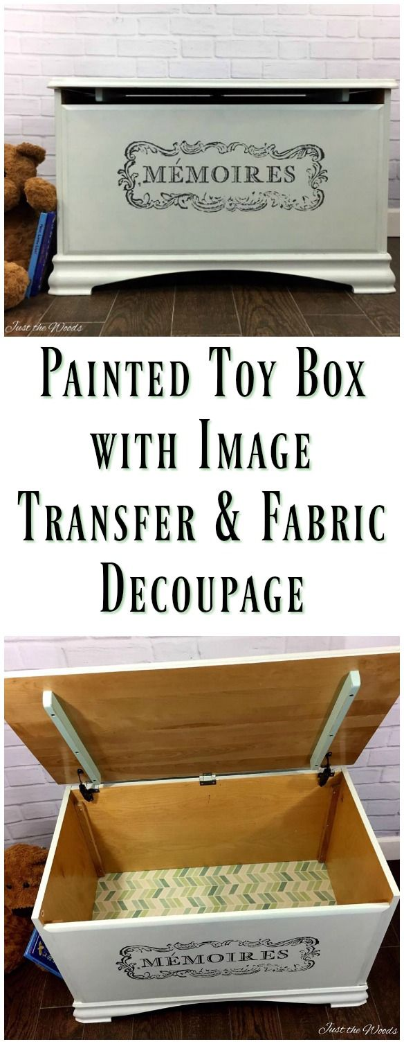 Hand painted toy box with french image transfer and decoupaged fabric liner.  A toy box doesn't have to look like a toy box!