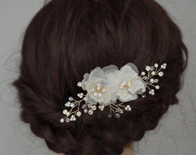 Gouden bruiloft Headpieces, zijden bloem haar kammen, bruids haren kammen Crystal bruiloft haar accessoires Flower Hair Clips in uit wit en ivoor