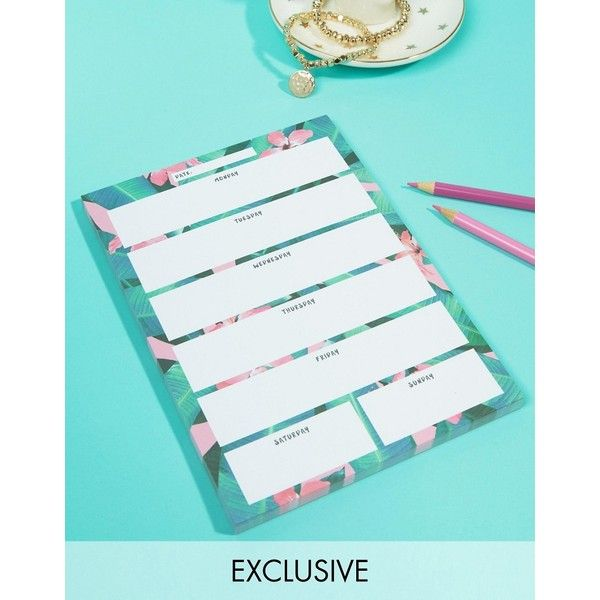 Ohh Deer Tropical Desk Planner ($7.61) ❤ liked on Polyvore featuring home, home decor, stationery and multi