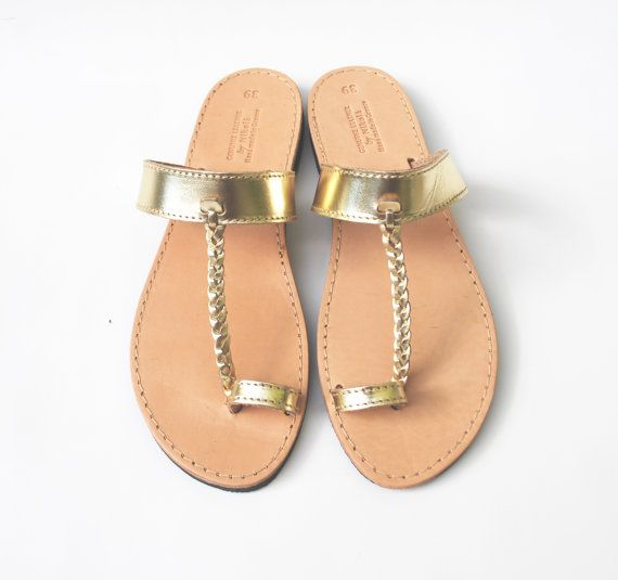 Gold Damen Sandalen Leder handgefertigt von NikolaSandals auf Etsy