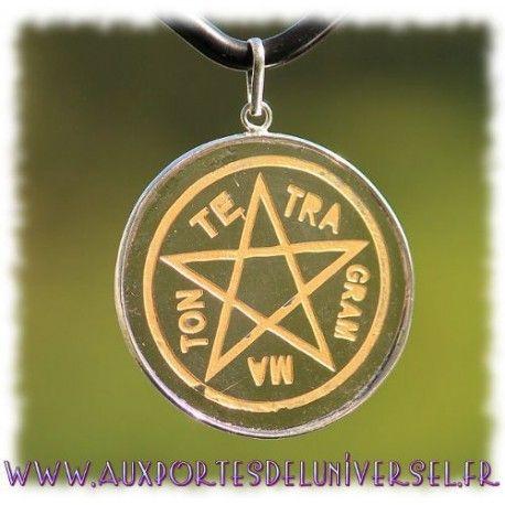 Pendentif Tétragrammaton en Obsidienne Noire sur la boutique ésotérique en ligne Aux Portes de l'Universel