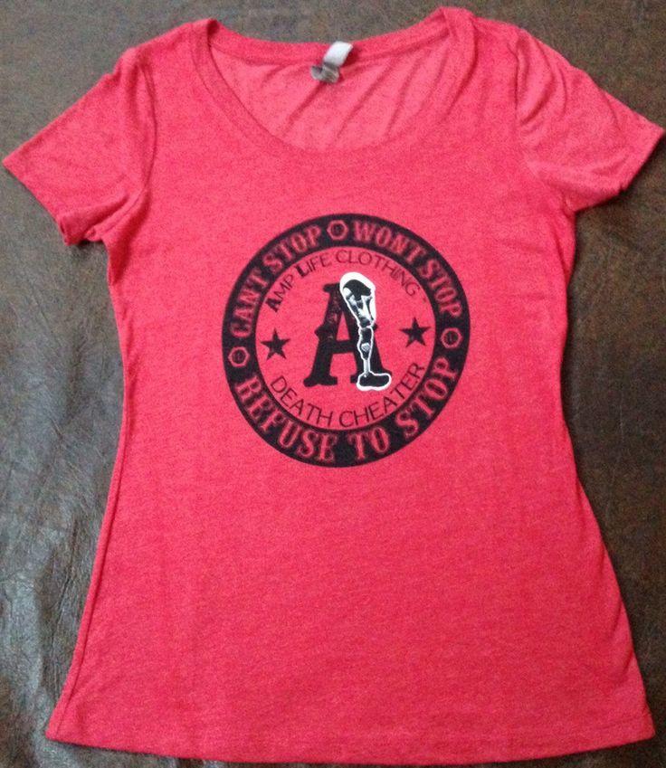 AMPUTEE LIFE® DEATH CHEATER LADIES SCOOP NECK Vintage Red