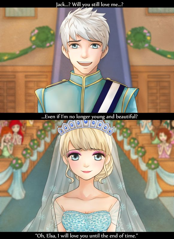 frozenblume: Jack & Elsa Wedding fanart~ :) and I'm the priest I added some disney princesses in the BG. Can you guess who they are~?  Ariel, Anna, and Rapunzel in the background!