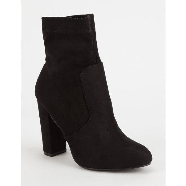 Yoki Faux Suede Womens Sock Boots ($33) ❤ liked on Polyvore featuring shoes, boots, ankle boots, bootie boots, slouch boots, block heel ankle boots and slip on ankle boots