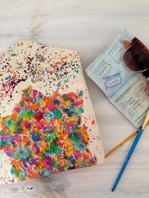 Boho chic envelope clutch with splatter map of France and heart painted in your location of choice! Weve all left our heart somewhere, so why