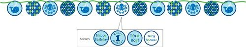 """Our Ocean Preppy Boy Ribbon Circle Banner is a great decorating accessory for your underwater party theme.  It measures 5.5 feet long, nicely highlights the Ocean Preppy Boy theme colors of blue, green, and white, and features 5""""-wide printed circle cutouts, strung together with a translucent green satin ribbon.  Any of the cutouts can also be customized with the included """"It's a Boy!"""", """"Baby Shower"""", """"Happy 1st Birthday"""", or """"Happy Birthday"""" stickers."""