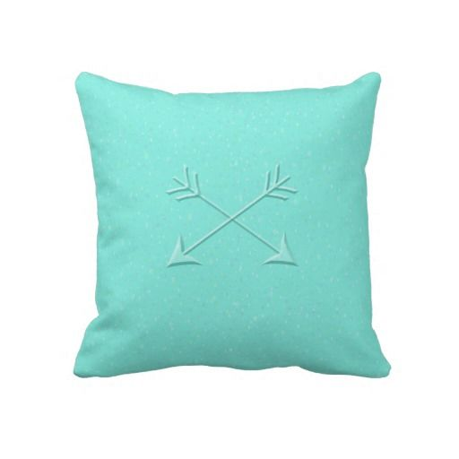Speckled Arrows in Aqua Pillow