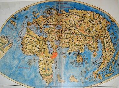 Historical world map from Johannes de Armsschein c1482.