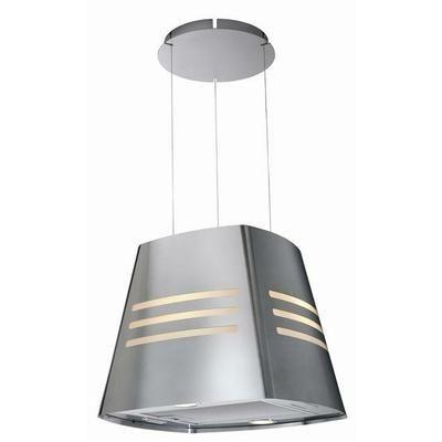 Hotte décor ilot - Inox - Débit max d'aspiration : 460 m3/h - 70dB - Recyclage - Largeur 47,9cm - 3 vitesses - 1 moteur - Eclairage halogène - Commandes électroniques - 1 filtre à charbon actif en inox et lavable