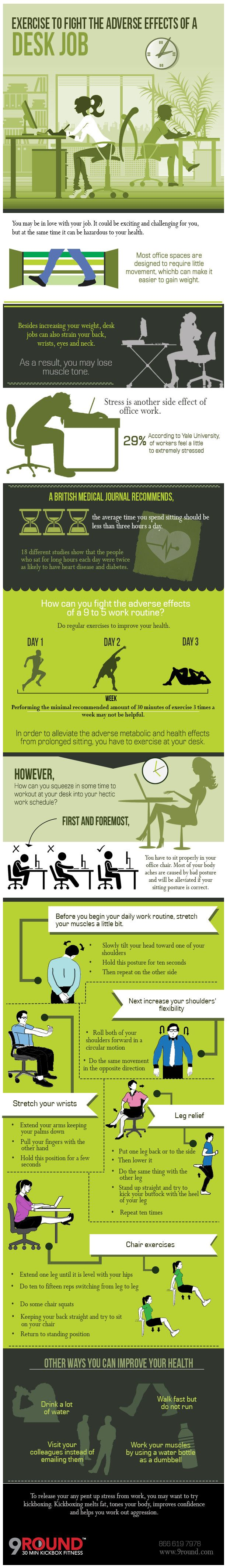 Infographic: Exercise to Fight the Adverse Effects of a Desk Job #infographic