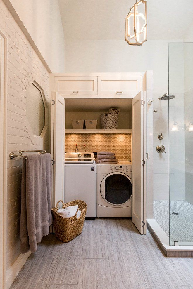 Combo Laundry Room And Bathroom Doors Allow The Liances To Be Hidden