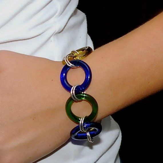 Wine-O bracelet made from wine recycled bottles.