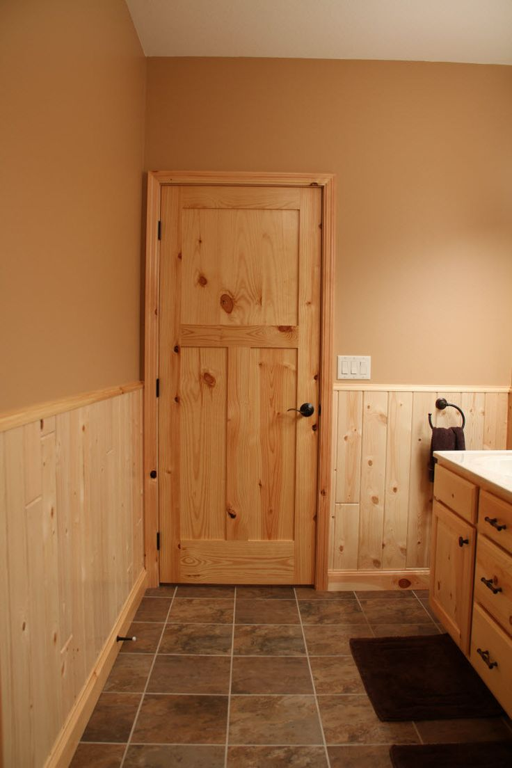 Interior Doors | knotty pine craftsman style bathroom door | Bayer Built Woodworks