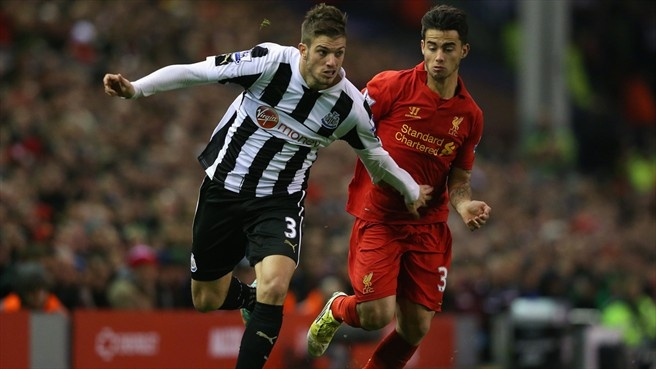 Davide #Santon (Newcastle United FC) & Suso (Liverpool FC)  Davide Santon of Newcastle United FC in action against Suso of Liverpool FC during their English Premier League match