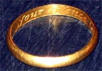 A list of poesy inscriptions (posy, posie, posey) found on wedding bands or other antique rings.