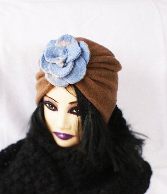 Wool Turban Hat Brown Felt Turban Only One Made Turban OOAK