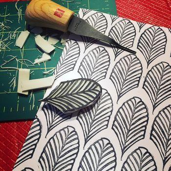 Carve December 2015 – Deco Leaf Stamp – Gwen LafleurBlack Walnut Stitch Studio | Creative Sewing and Textile Art Ideas