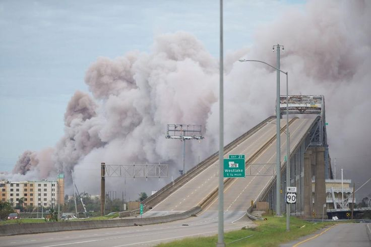 Chemical fire in lake charles after hurricane lauras