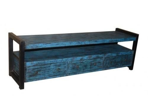 Piękna niebieska #komoda RTV http://bit.ly/1VNUrnk z trzema szufladami i wnęką. #komodaRTV