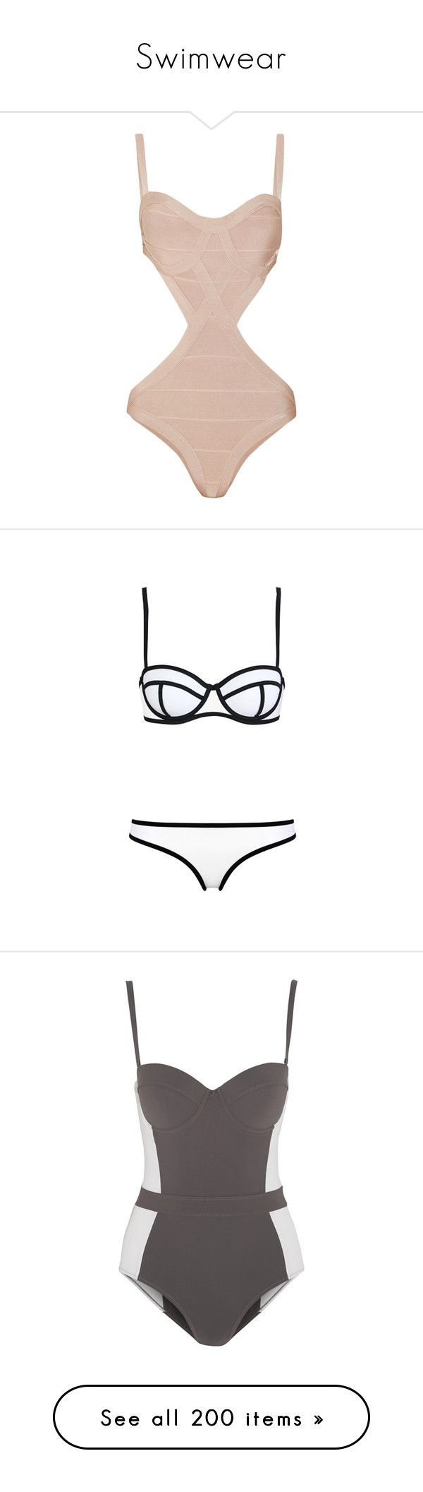 """Swimwear"" by darlingchick ❤ liked on Polyvore featuring swimwear, one-piece swimsuits, swimsuits, bikini, swim, bathing suits, beige, swim suits, cut out bikini and swimsuits bikinis"