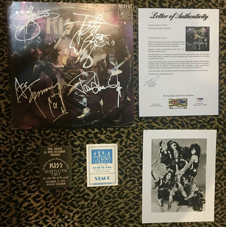 KISS ALIVE vintage record album LP cover signed by Gene Paul Ace Peter PSA DNA
