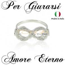 Anello infinito con zirconi brillanti in argento 925% doppio bordo (Infinity Ring)