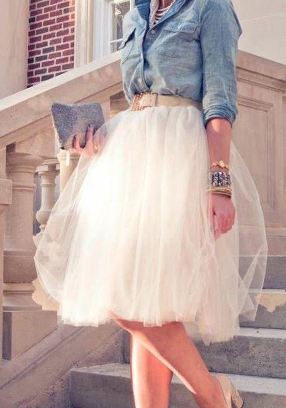 Weiß Süße Drapierte Ballettröckchen Elastischer High waisted Entzückende Tutu weiss Tüllrock Damen