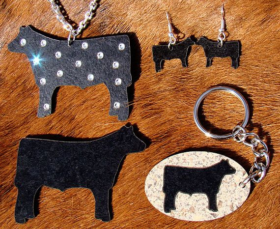 Show Steer Jewelry SET  4H FFA Necklace by TheGlitteredPig on Etsy