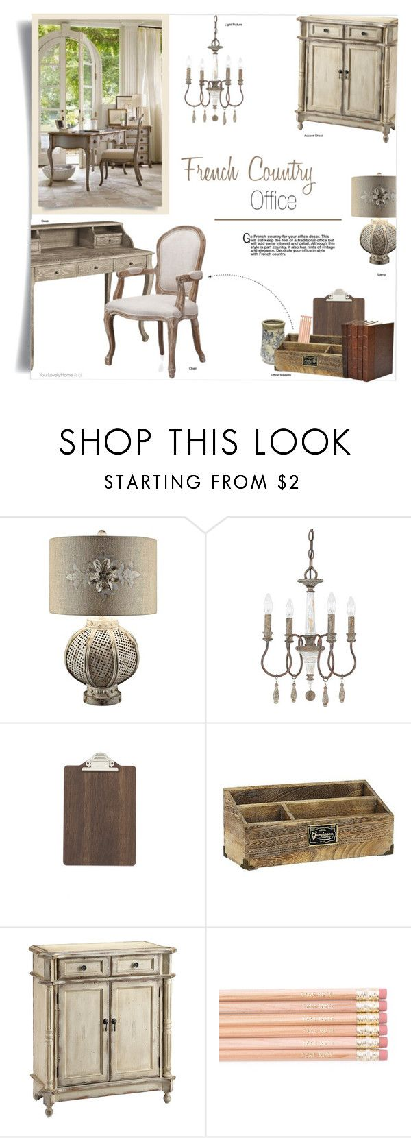 """French Country Office"" by yourlovelyhome ❤ liked on Polyvore featuring interior, interiors, interior design, home, home decor, interior decorating, Crestview Collection, ferm LIVING, Threshold and Stein World"