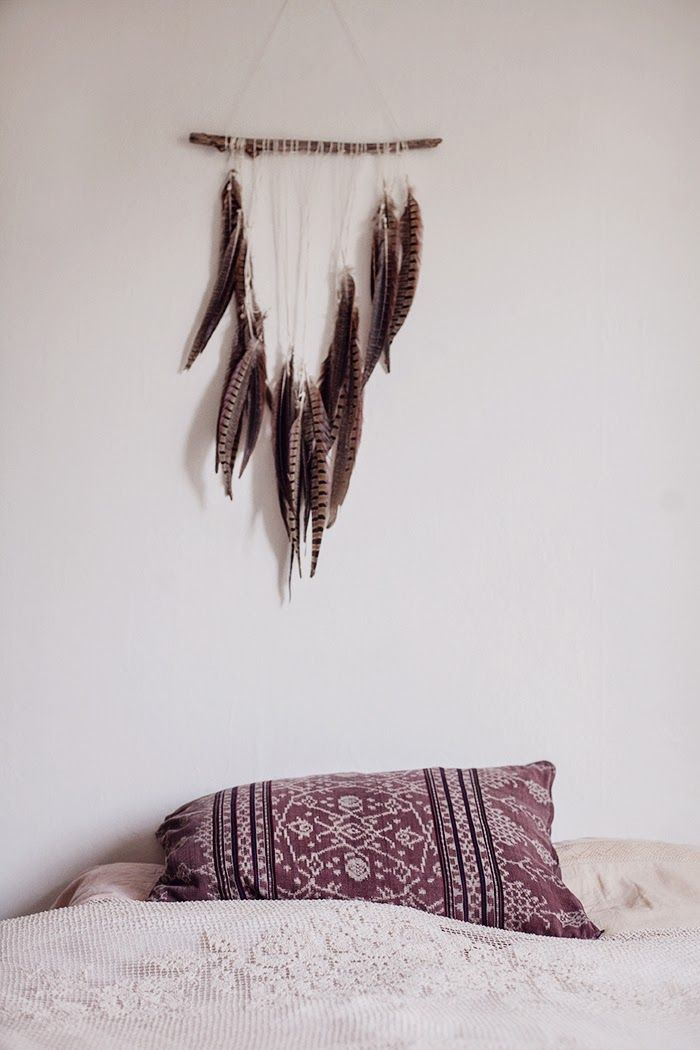Pillowcase and feather mobile