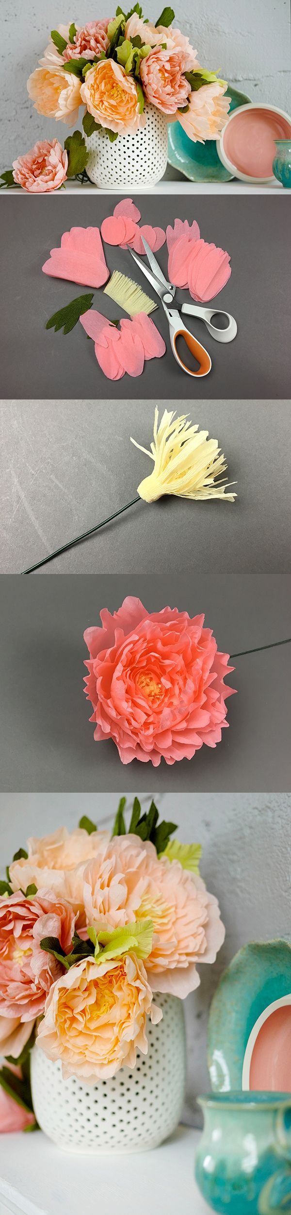 DIY paper peonies | Project in Mollie Makes The Big Comic Relief Crafternoon 2