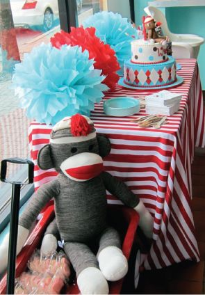 Sock monkey first birthday!