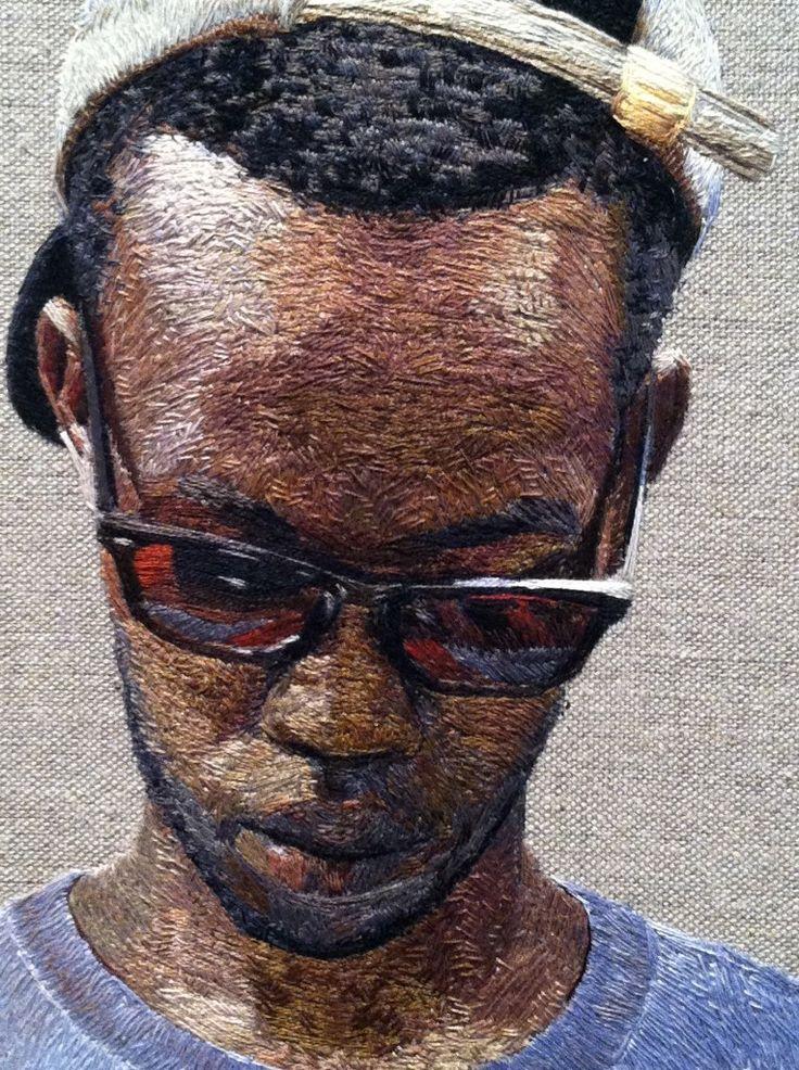 Amazing embroidered portraits by Boston based artist, Daniel Kornrumpf.
