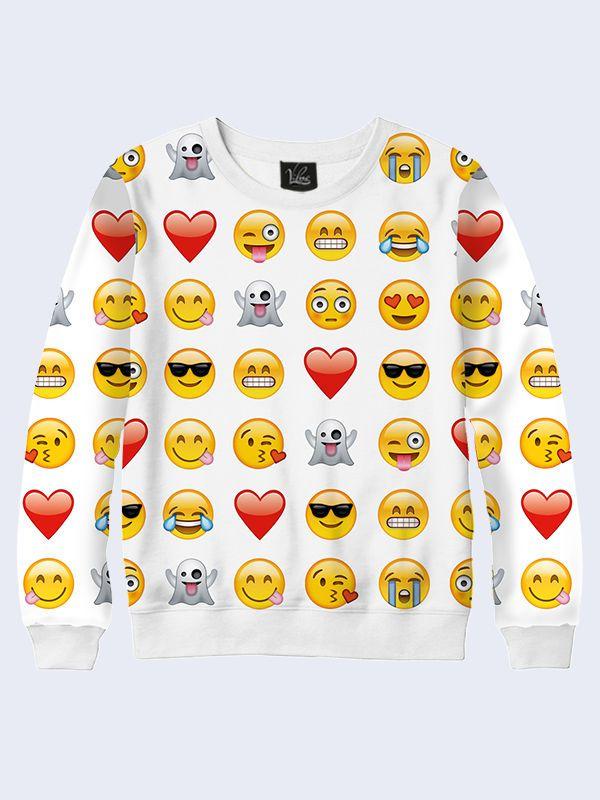 Girls Emoji Sweatshirt Kids Emoticons Smiley Face 3D Fashion Long Sleeves