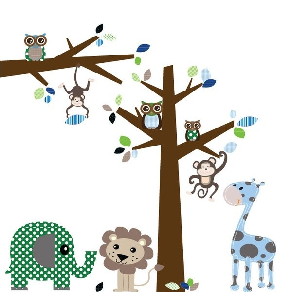 Muursticker jungleboom + tak en dieren:-Afmetingen: Boom: 2m hoog, Tak: 116 cm breed