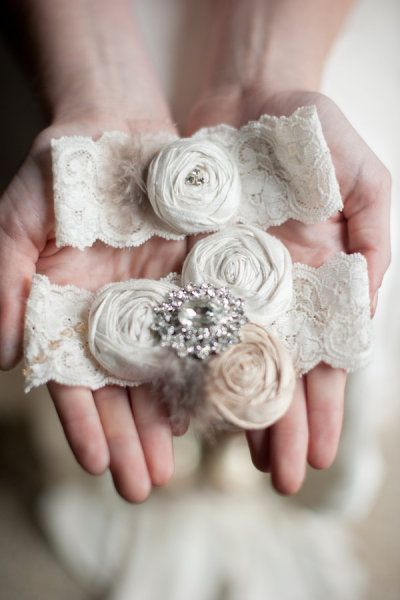Marie Antoinette Vintage Inspired Rolled Rosette Dupioni Wedding Garters On French Imported Lace Swarovski Crystals By Emily Riggs Bridal