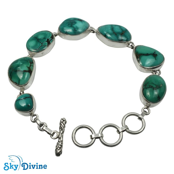 Keep your nature-loving spirit even in the big cities. Show the people around you that you love the green color of nature by wearing this green turquoise bracelet in 925 Sterling silver Australia. Visit to buy : Sky Divine | 925 Sterling Silver turquoise Bracelet, $222.00
