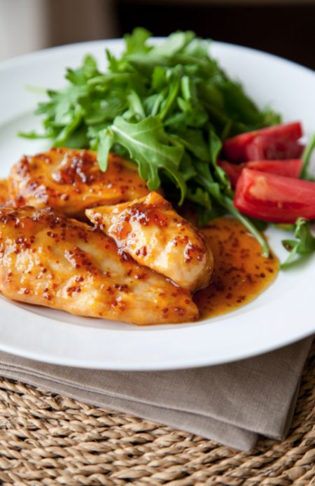 Our sis-in-law, Kimberly first introduced us to this super easy and delicious chicken from Martha Stewart.  What You'll Need: 4 Chicken Breasts (tenders or thighs work too) 12 oz Apricot Jam 2 TBSP Ho