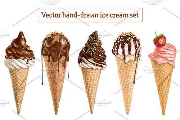 Set of 10 vector hand drawn icecream by Natalka Dmitrova on @creativemarket ice, cream, dessert, painting, watercolor, sweet, food, drawn, hand, summer, refreshment, isolated, vector, cold, cone, sketch, melt, product, sugary, color, classic, white, dairy, waffle, vintage, treat, vanilla, lick, brown, creamy, drawing, frosty, handmade, heat, illustration, freeze, beige, crispy, colorful, background, chocolate, cherry, fast, yellow, soft, serve, icy, creme, artist, flavor, meal, mint…