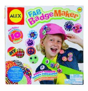 Alex Fab Badge Maker by Alex. $13.23. Includes a special easy to use button maker. Great way to design your own. Add sparkle with glitter stickers and gem. Make 10 Fab Fabric Badges!. It's so easy!. Amazon.com                 Badge making is easy and fun with help from the Alex Fab Badge Maker. With the rubber So-Easy badge maker, your child can make 10 badges from a variety of vibrant, pre-cut fabric patterns. Simply choose your fabric, insert it into the badge mak...