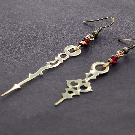steampunk earrings made with hands of a clock~