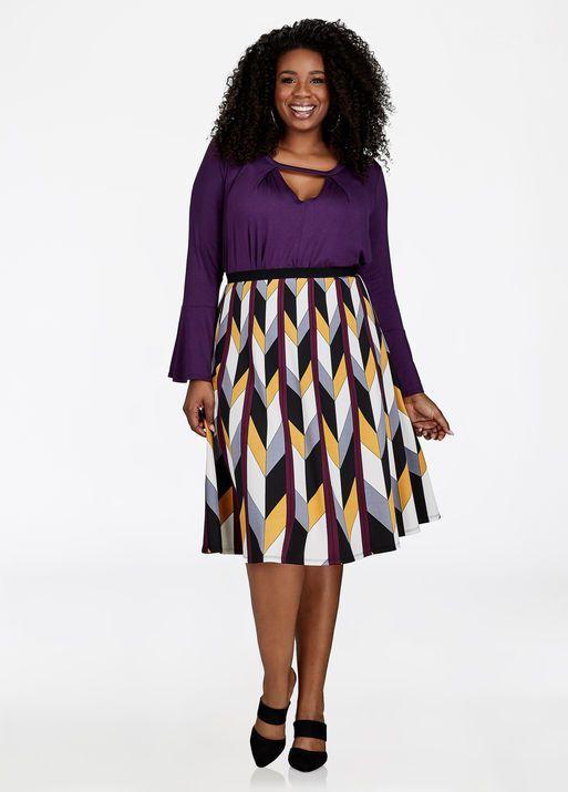 Fashion Bug Plus Size Chevron Print A-Line Skirt #FashionBug #PlusSize #Skirts www.fashionbug.us