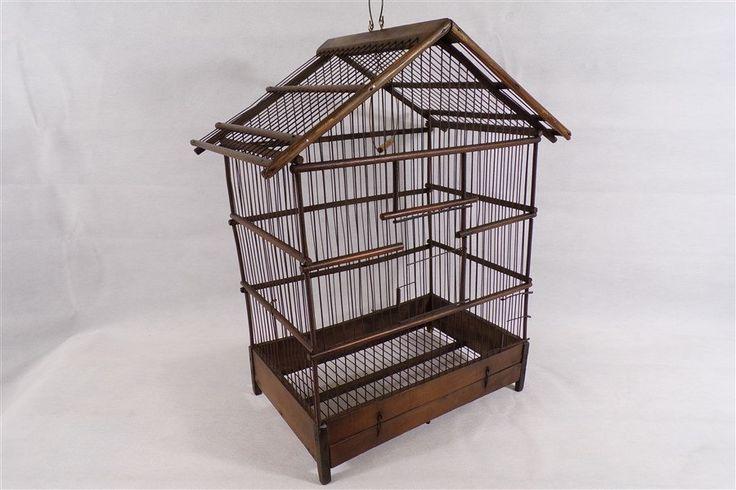 cage à oiseaux vintage en bois années 30 déco vintage shabby chic déco retro vintage France vintagefr de la boutique decobrock sur Etsy