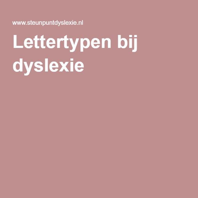 Lettertypen bij dyslexie