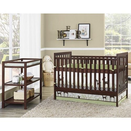 Nursery furniture crib set wooden baby bedroom set infant changing table brown #Unbranded
