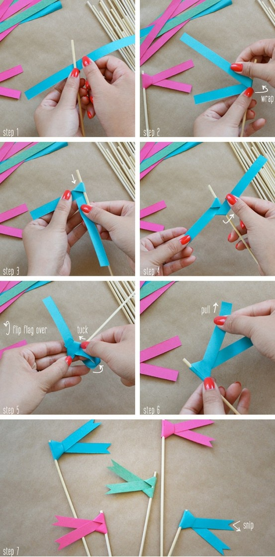 Step By Step Cocktail Stick Paper Flags