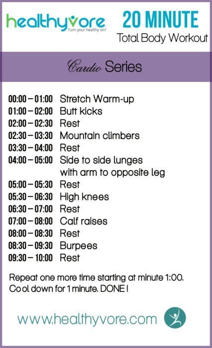 Got 20 minutes? Here is a killer total body workout cardio!