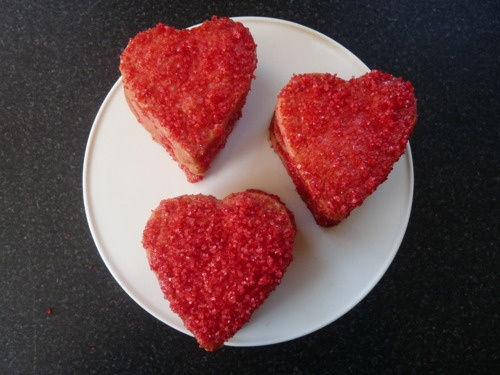Pink shortbread hearts with red sparkle sugar. For Valentine's Day.: Valentine'S Day, Valentines Day