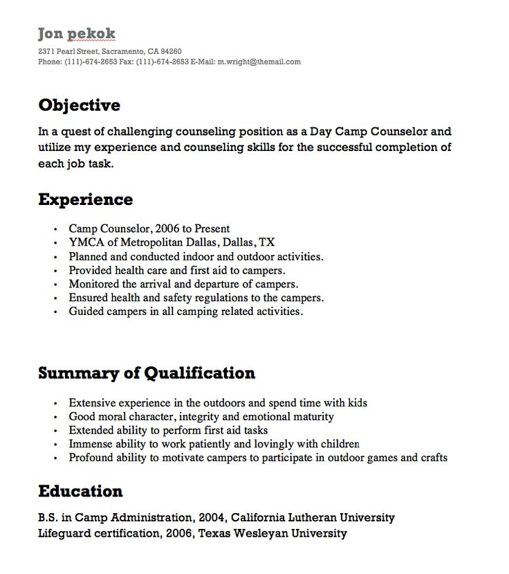 Camp Counselor Resumes - http\/\/resumesdesign\/camp-counselor - career counselor resume